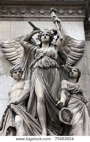 PARIS,FRANCE - NOV 08,2012:Architectural details of Opera National de Paris: Lyrical Drama Facade sculpture by Perraud.Grand Opera is famous neo-baroque building in Paris.UNESCO World Heritage Site.