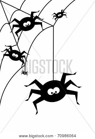 Halloween Background With  Black Spiders Over White Background