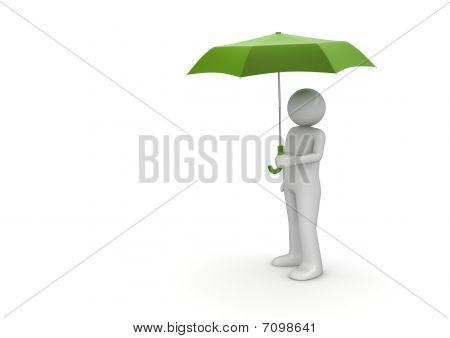 Man Under Green Umbrella