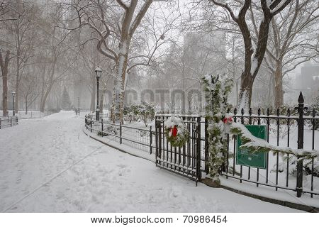 Winter scene in Madison Square Park, Manhattan, NYC.