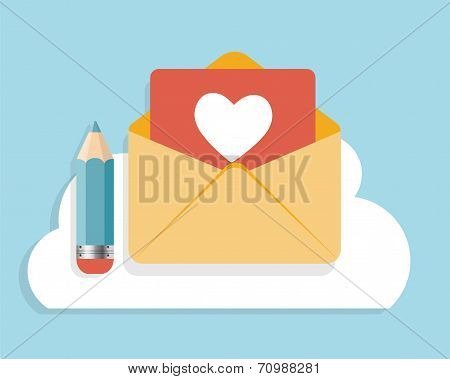 Flat Design Concept Email  Icon Vector Illustration