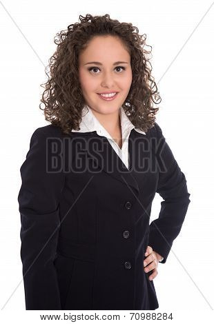 Pretty Isolated Young Businesswoman In Blazer And Blouse.