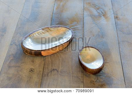 Table With Two Ashtrays From Seashells