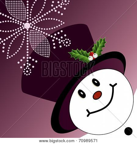 Snowman with tophat and snowflake