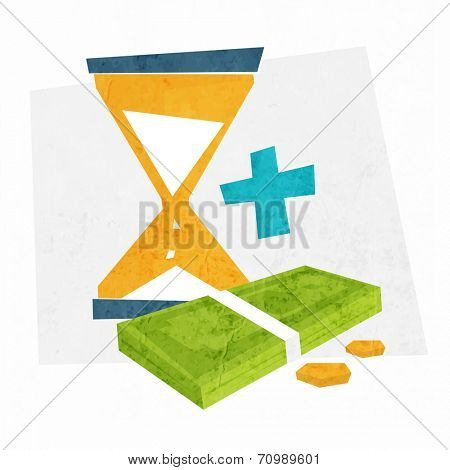 Time is Money. Money and Time Management Concept Icons. Sandglass with Dollars and Coins. Flat Style Vector Illustration.