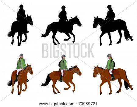 riding a horse - silhouettes and illustration