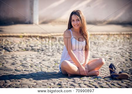 Beautiful young multicultural woman in an outdoor
