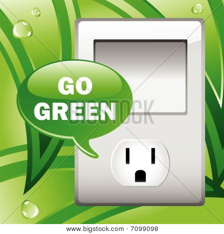 Go Green Electric Outlet with leaves background.