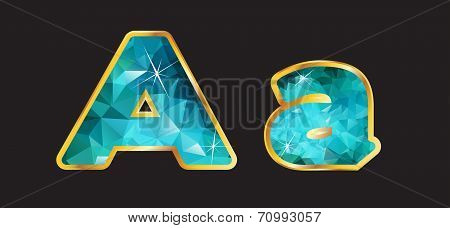 Aa With Gold And Teal