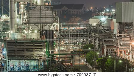 Overall View Of An Oil And Gas Refinery, Pipelines And Towers, Heavy Industry