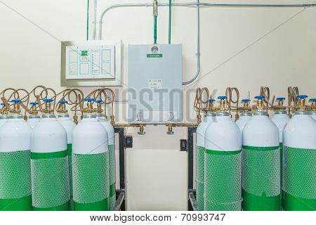 Medical Oxygen Tank In Hospital Control Room