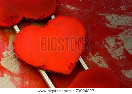 Love Valentines Red Painted Recycled Cardboard Hearts