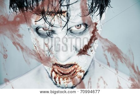 Zombie Behind A Bloody Glass