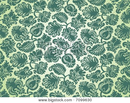 Damask Flower Light Green