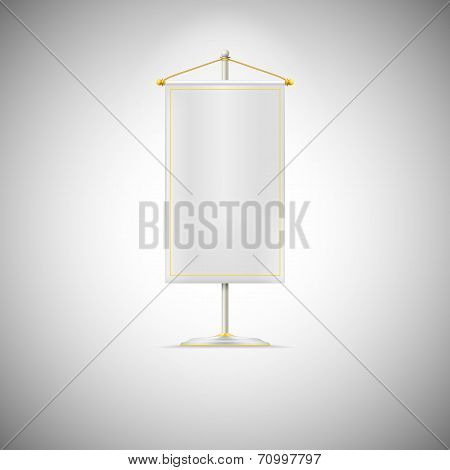 White pennant or flag on chrome base with