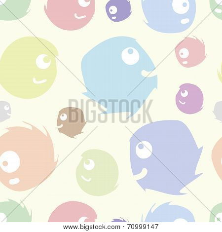 Seamless texture with cheerful color monsters