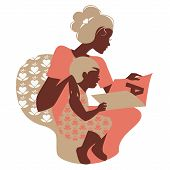 stock photo of babysitter  - Beautiful silhouette  of mother and baby reading book - JPG