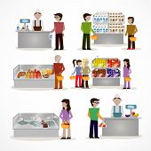 foto of grocery store  - People in supermarket grocery store with shopping baskets isolated vector illustration - JPG