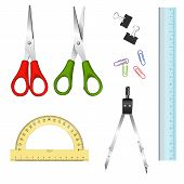 stock photo of protractor  - Collection of school supplies on white background  - JPG