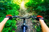 stock photo of pov  - Mountain biking down hill - JPG