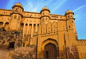 image of india gate  - Ancient facade and gates of Amber fort - JPG