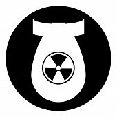 image of nuclear bomb  - Bomb button on white background - JPG
