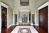 picture of entryway  - Foyer in luxury home with balcony and floor design - JPG