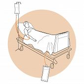 foto of stretcher  - Vecor Illustration of Patient Lay Down On Stretcher - JPG