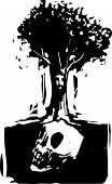 picture of pain-tree  - Woodcut style image of a tree with a face where roots grow around a buried giant skull - JPG