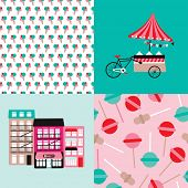 picture of popsicle  - Ice cream bike candy shop and lollipop popsicle illustration background pattern in vector - JPG