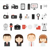 stock photo of mass media  - Set of flat colorful vector journalism icons - JPG