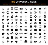 stock photo of bundle money  - Collection of 100 universal black flat icons concerning business - JPG