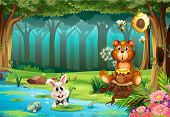 stock photo of jungle flowers  - Illustration of a bear in a jungle - JPG