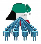 picture of kuwait  - Lines of people with Kuwait map flag illustration - JPG