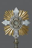 stock photo of eucharist  - A monstrance is the vessel used in the churches to display the consecrated Eucharistic Host - JPG