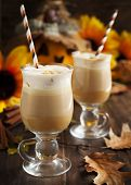 picture of latte  - Pumpkin Spice Latte With Whipped Cream And Caramel - JPG