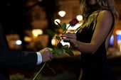 picture of fiance  - Woman getting rose on the first date - JPG
