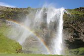 Iceland waterfall with 2 rainbows
