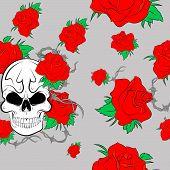 stock photo of skull crossbones flag  - Seamless pattern with skulls and rose gray background - JPG