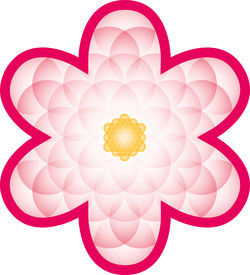 foto of merkaba  - Pink bloom made of a transparent Flower of Life - JPG