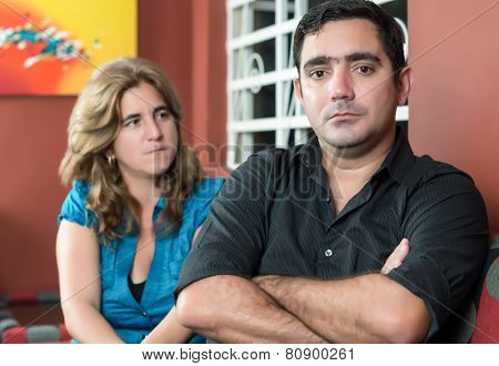 Divorce, marital problems - Husband and wife angry after a fight