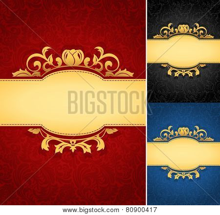 Elegant golden frame banner with ornate background