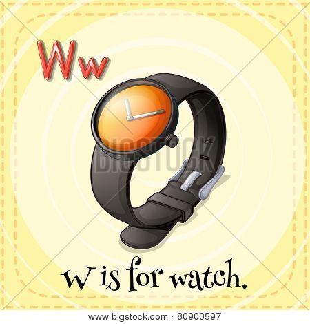 Illustration of a letter W is for watch