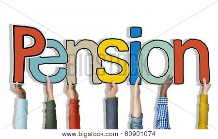 Multiethnic Group of Hands Holding Letter Pension