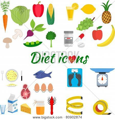 Dietetic icon set