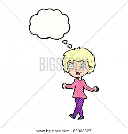 cartoon confused woman with thought bubble