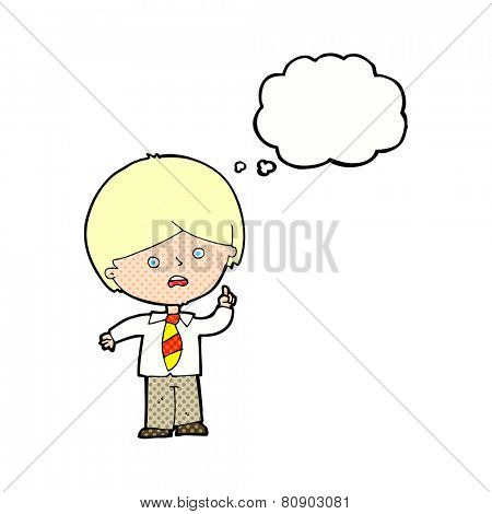 cartoon worried school boy raising hand with thought bubble