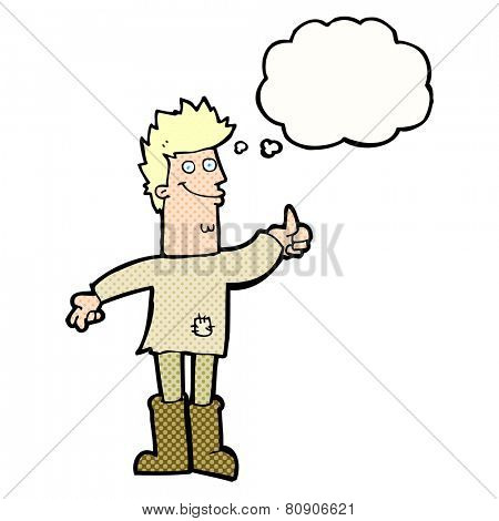 cartoon positive thinking man in rags with thought bubble