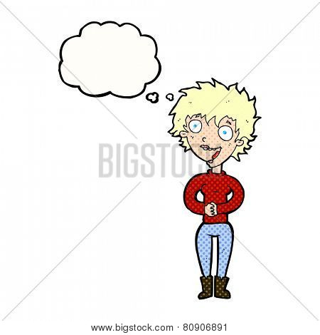 cartoon crazy excited woman with thought bubble