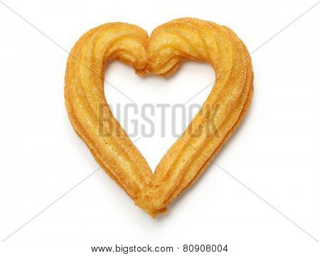 homemade heart shape churro isolated on white background